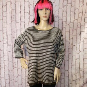 Brown, Cream and Gold Stripe 3/4 Sleeve Top XL